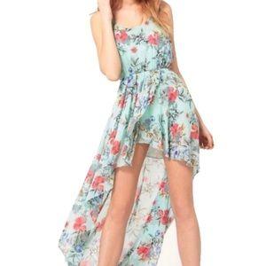 Asos Mint Teal Boho Pink Floral High-Low Dress